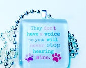 They don't have a voice, so you will never stop hearing mine glass tile pendant