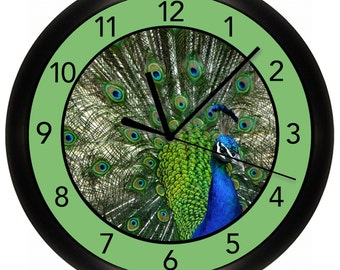 Peacock Wall Clock Decorative 10 inch