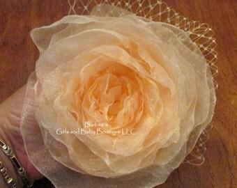 Silk Organza Hair Flower. Bridal Flower with Russian Veil, wedding, bride, bridesmaid, flower girl, hair clip
