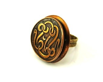 Mod Copper Ring, Vintage Statement Ring, Signet Ring, Monogram, Mid Century Jewelry, Adjustable Ring, Boho 1960s Vintage Jewelry, Size 9