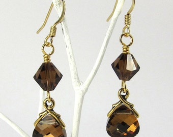 Brown Crystal Earrings of Swarovski Crystal Terra Crystals and Briolettes