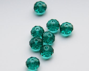 Emerald  Crystal Beads Glass Rondelle Beads  6X4mm G 50 047
