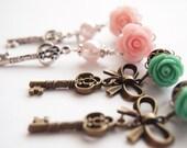 2g 6mm 0g 8mmSkeleton Key Steel Dangle Plugs -  pink green roses pretty316L