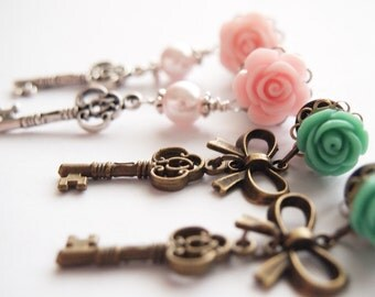 2g 6mm 0g 8mm Skeleton Key Steel Dangle Plugs -  pink green roses pretty316L