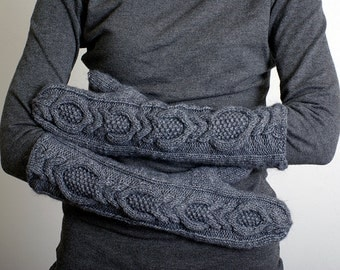 Knitted Mittens, Hand Knit Mittens, Long Woman's Mittens, Dark Grey, Knit Arm Warmers, Fingerless Gloves, Knit Gloves.