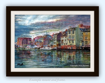 Whitby Yorkshire Coast English countryside LARGE Art Print of original watercolor painting by English Artist Stephen Russell