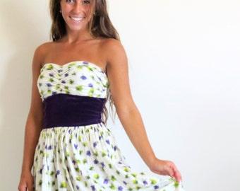 Vintage Atomic Print Dress, Cotton Sundress, 50s Strapless Tea Length Summer Dress, 1950 Garden Party Dress
