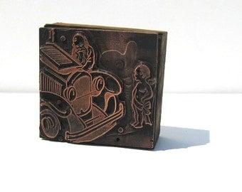 Vintage Copperplate Print Block: Copper on Wood Letterpress Print Block, Antique Car
