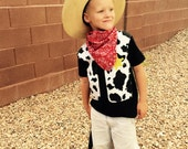 Halloween western costume -  boy black shirt with cow fabric cowboy vest, yellow sheriff badge, red bandana for baby, toddler, boy