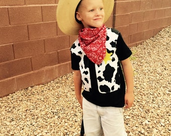 Cowboy western costume -  boy black shirt with cow fabric cowboy vest, yellow sheriff badge, red bandana for baby, toddler, boy