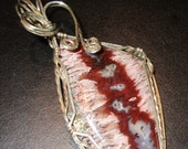 Plume Agate from the Cady Mountains Silver Pendant