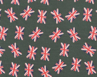 Union Jack Fabric - UK Flag - Green Fabric - Red Fabric - Navy Fabric - Cotton Fabric - Punk Rock - Rockabilly Fabric