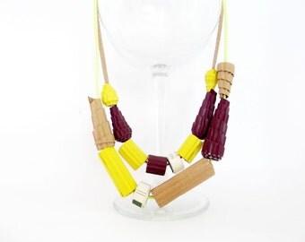 Paper bead necklace, sale necklace, natural color paper necklace, paper bead jewelry, statement necklace, hippie necklace, eco, bohemian