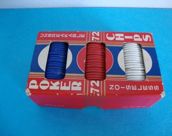 Vintage Poker Chips, Compressed Paper Chips, Card Game, Art Supplies, 75 Poker Chips