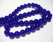Glass Beads Dark Blue Round 10MM