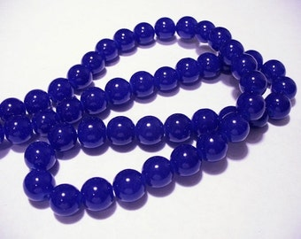 Glass Beads Dark Blue Round 10MM