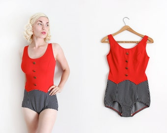vintage 1960s swimsuit // 60s red and gingham two tone bathing suit