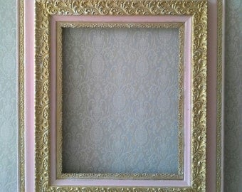 Frame, Antique frame, Pink and Gold frame, Large frame, Shabby Cottage, Paris Chic, French Provincial, Girls Nursery, Shabby Pink