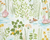 Retro Wallpaper by the Yard 70s Vintage Wallpaper - 1970s Pink Swans on Pond with Yellow Flowers and Green Leaves Bathroom Floral Botanical