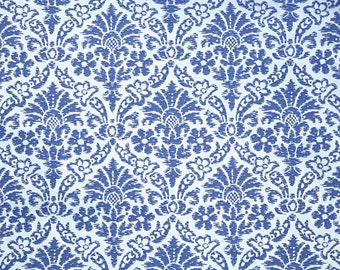 Retro Flock Wallpaper by the Yard 70s Vintage Flock Wallpaper - 1970s Blue and Silver Damask Flock