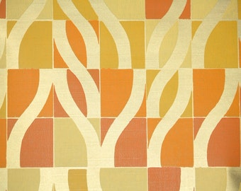 Vintage Wallpaper by the Yard 70s Retro Wallpaper - 1970s Orange and Yellow Geometric with Metallic Gold
