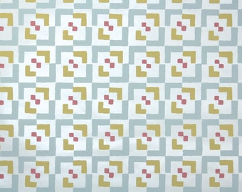 Retro Wallpaper by the Yard 70s Vintage Wallpaper - 1970s Vinyl Blue Pink and Yellow Geometric