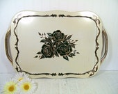 Vintage Gold & Black Roses ToleWare on Ivory Metal Oversized Serving Tray - Mid Century Shabby Chic Very Large Tray with Gold Tone Handles