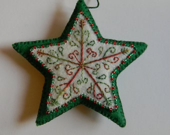 red and green embroidered and beaded felt star ornament