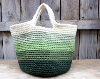 Large Crochet Boho Tote - Green Ombre