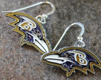 Baltimore Ravens Sterling Earrings | Ravens Jewelry | Maryland Sports Jewelry | Simple Ravens Earrings