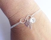 Sterling Silver Infinity Paw Print Bracelet with Angel Wing and Initial