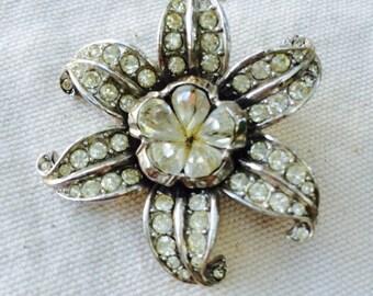 Art Deco paste floral pot metal brooch