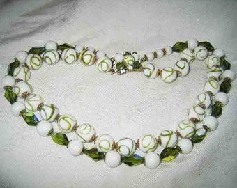 Vintage Green & White Venetian Beaded Necklace Fancy Clasp