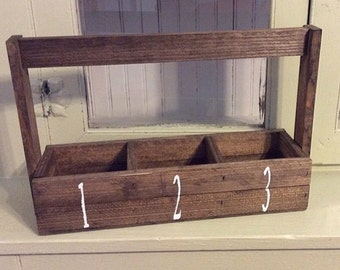 Handmade Wood handle box with  dividers amd handpainted numbers farmhouse decor desk organizer wedding shower decor