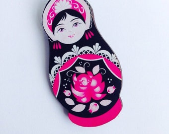 Pink and Black Flowers Russian Doll Wooden Brooch Pin - Birthday Christmas Gift Laser Cut - Antique Toy Stocking filler