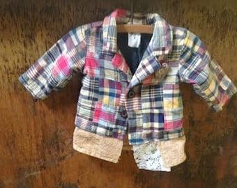 baby infant shower gift patchwork upcycled eco holiday christmas shabby boho rustic gypsy jacket blazer