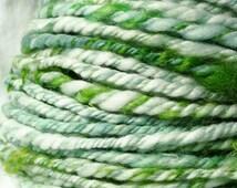 Handspun Merino Wool Yarn, Teeswater Locks, Green, Bulky, 3 ply, 56 yards International Shipping - First Thaw