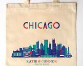 Chicago Skyline Wedding Guest Totes - Custom Printed Wedding Guest Canvas Tote Bags - Geometric Skyline Illinois Wedding Gift Bag
