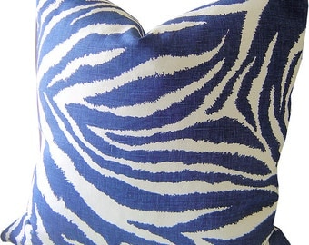 Indigo Pillows - FUNKY ZEBRA Pillows - Navy Zebra Pillows - Navy Pillow Cover - Indigo LUMBAR Pillow - Cushion Covers - Throw Pillow
