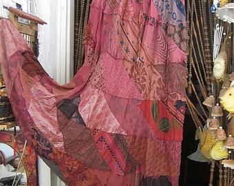 Bohemian Cotton Long Patchwork Skirt, Vintage - Medium