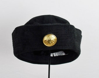 Vintage GIANNI VERSACE COUTURE Suede Navy Blue Sailor Hat 90s Runway With Medusa Emblem