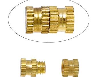 50 Gold Tone Barrel Screw Clasps, copper base, 9x5mm fcl0164