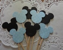 24 Baby Boy Mickey Mouse Cupcake Toppers - Light Blue Polka Dot - Food Picks - Party Picks - Baby Shower - Black and Blue Mickey Mouse