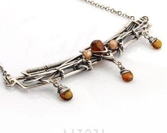 DENRADO Unique silver necklace wire-wrapping