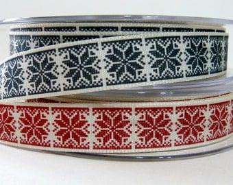 Berisford Nordic Snowflake Ribbon - Red or Gray