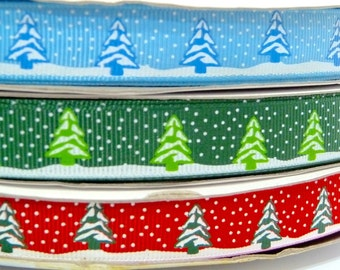 Snow Flurry Christmas Trees Ribbon