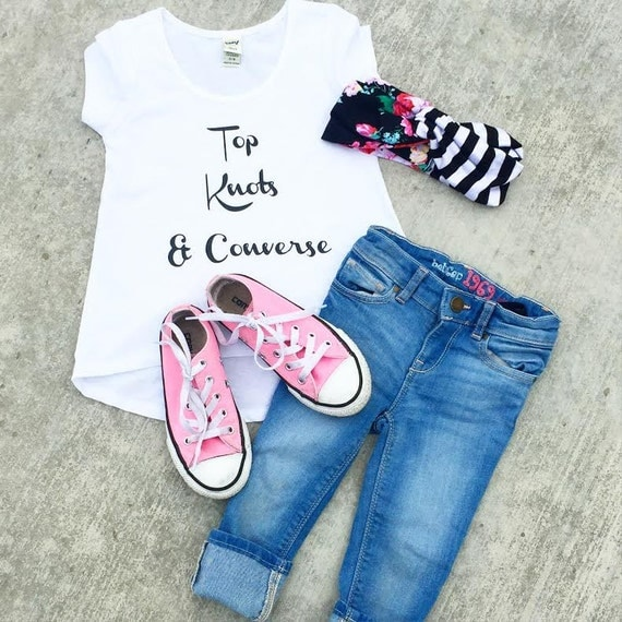 Top Knots & Converse Hi-Lo Tee - baby, toddler, child, adult, woman, girl, fashion, shirt