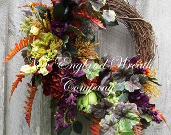 Fall Wreath, Autumn Wreath, Fall Floral Wreath, Tuscany Wreath, Williamsburg Wreath, Fruit Wreath, Thanksgiving Wreath, Harvest Wreath
