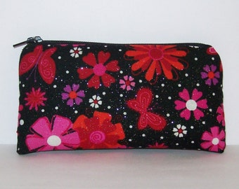 "Pipe Pouch, Pipe Case, Pipe Bag, Padded Pouch, Butterfly Flower Bag, Glitter Pouch, Small Pouch, Cute Pouch, Stoner Girl Gift - 5.5"" SMALL"