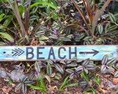 Rustic driftwood BEACH directional sign shabby chic coastal decor